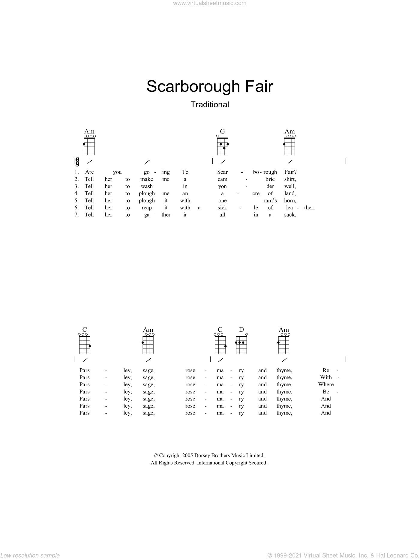 Scarborough Fair sheet music for guitar (chords)  and Traditional English Ballad. Score Image Preview.