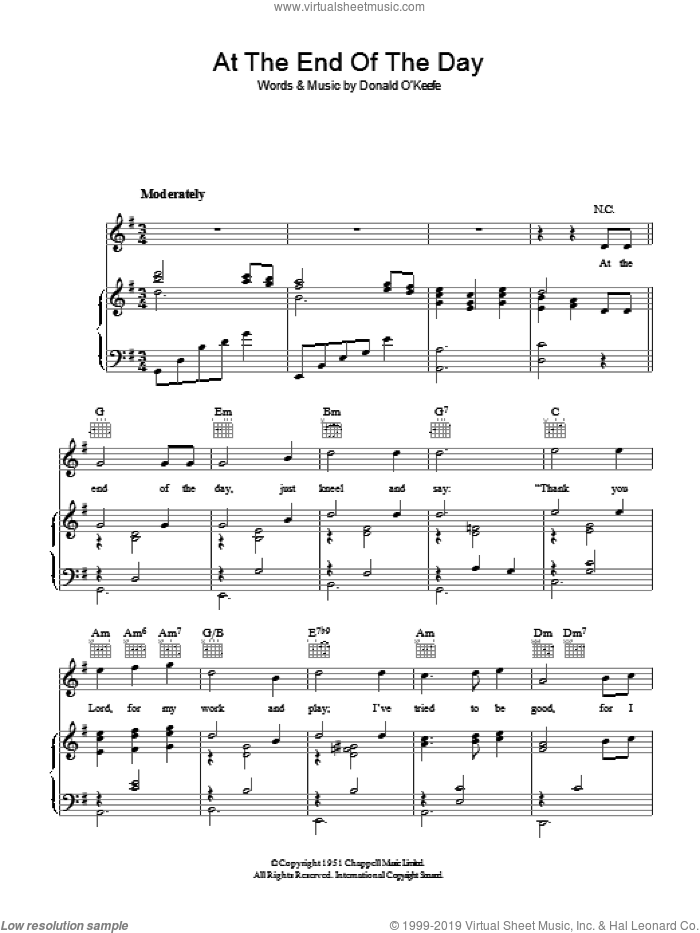 At The End Of The Day sheet music for voice, piano or guitar by Donald O'Keefe. Score Image Preview.