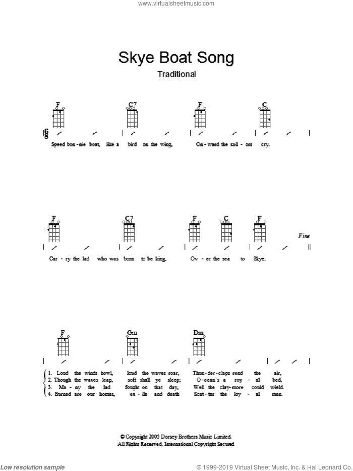 The Skye Boat Song sheet music for guitar (chords). Score Image Preview.