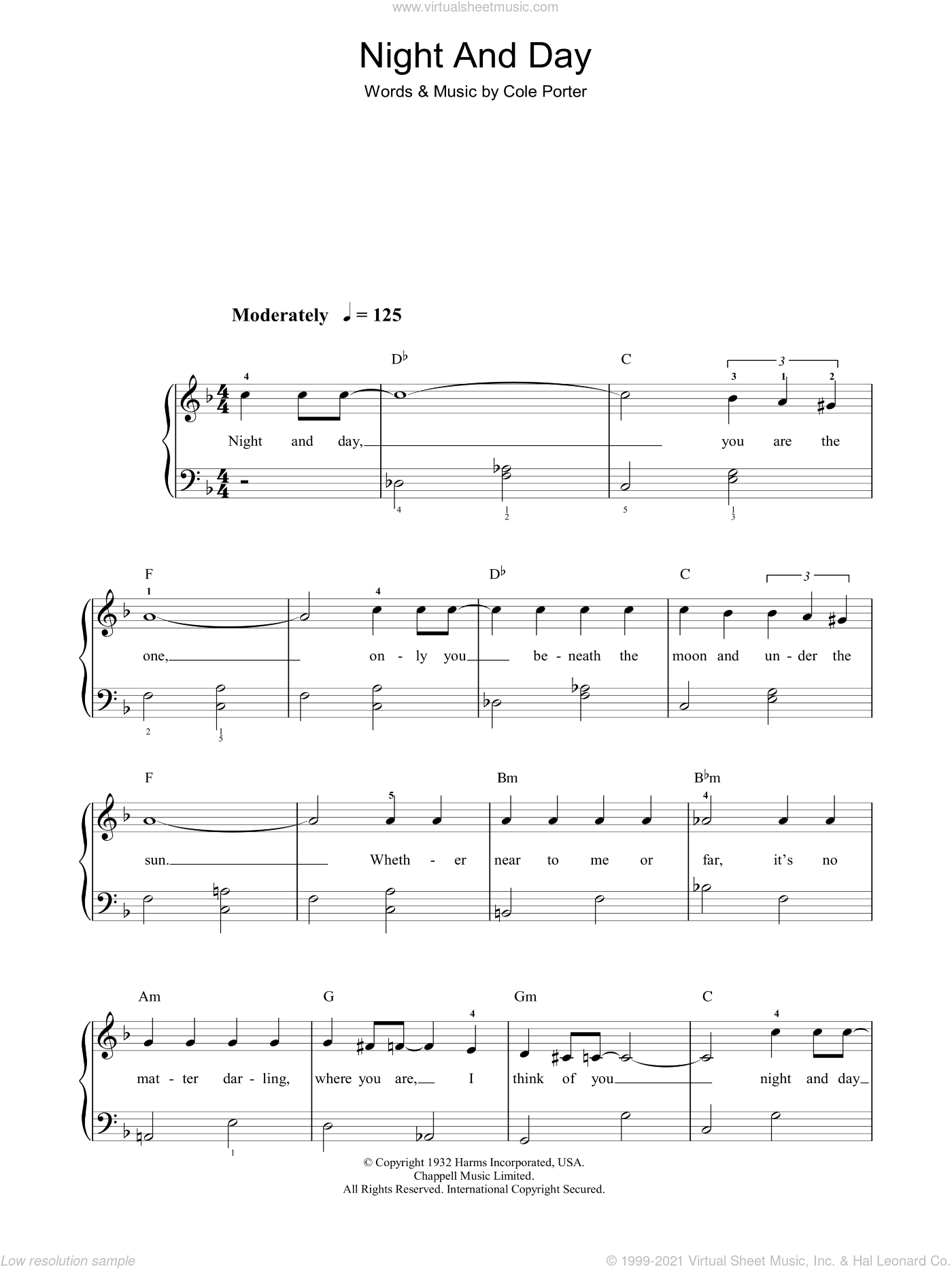 Night And Day sheet music for piano solo by Frank Sinatra and Cole Porter, easy skill level