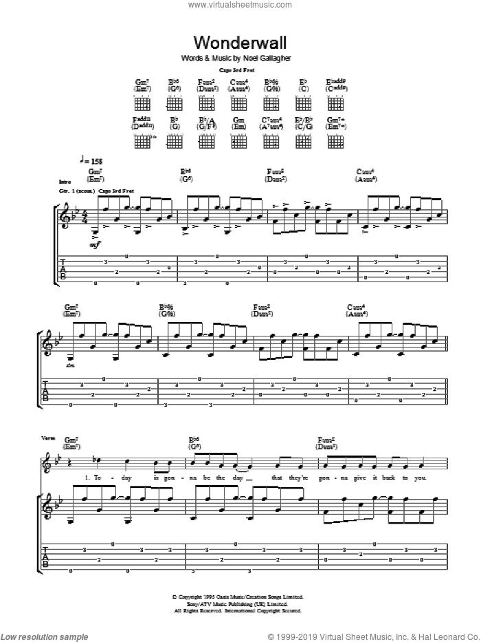 Wonderwall sheet music for guitar (tablature) by Ryan Adams and Noel Gallagher, intermediate skill level
