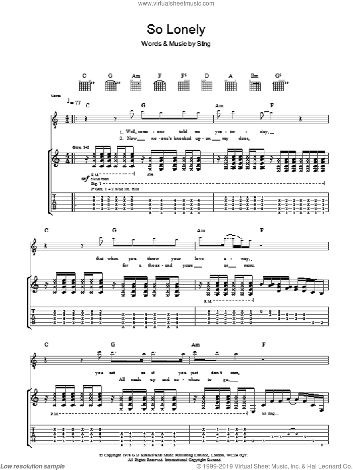 So Lonely sheet music for guitar (tablature) by The Police and Sting, intermediate. Score Image Preview.