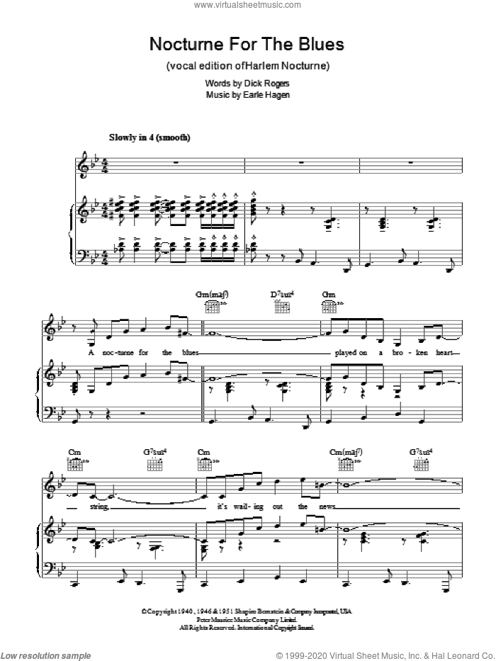 Harlem Nocturne sheet music for voice, piano or guitar by Earle Hagen