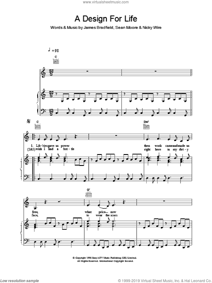 A Design For Life sheet music for voice, piano or guitar by Manic Street Preachers and James Dean Bradfield. Score Image Preview.