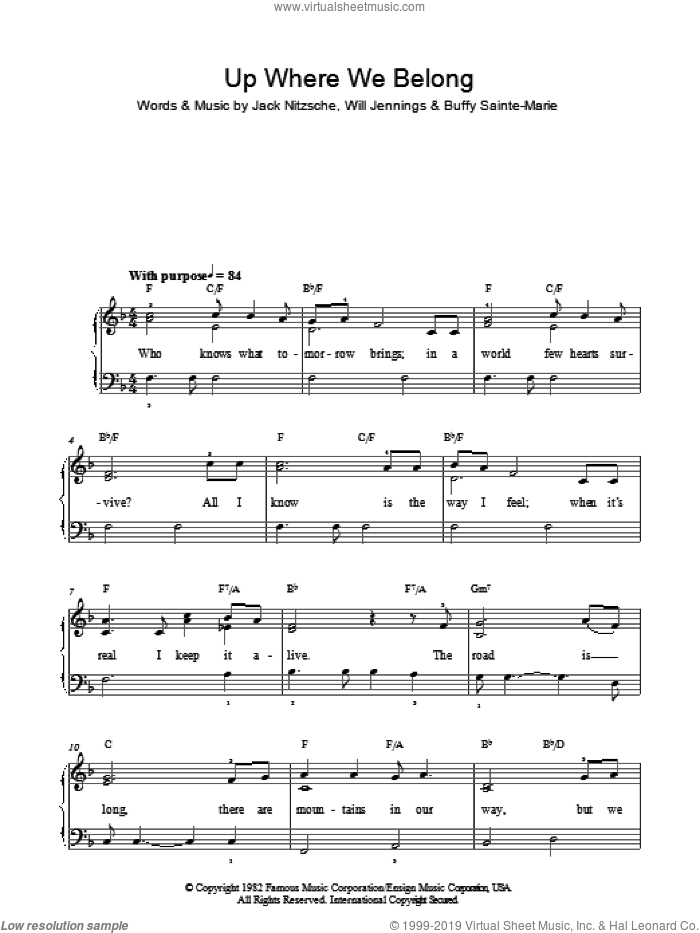 Up Where We Belong sheet music for piano solo by Buffy Sainte-Marie, Jennifer Warnes, Joe Cocker, Jack Nitzsche and Will Jennings. Score Image Preview.