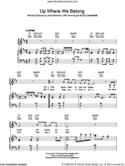 Up Where We Belong sheet music for voice, piano or guitar by Buffy Sainte-Marie, Joe Cocker, Jack Nitzsche and Will Jennings. Score Image Preview.