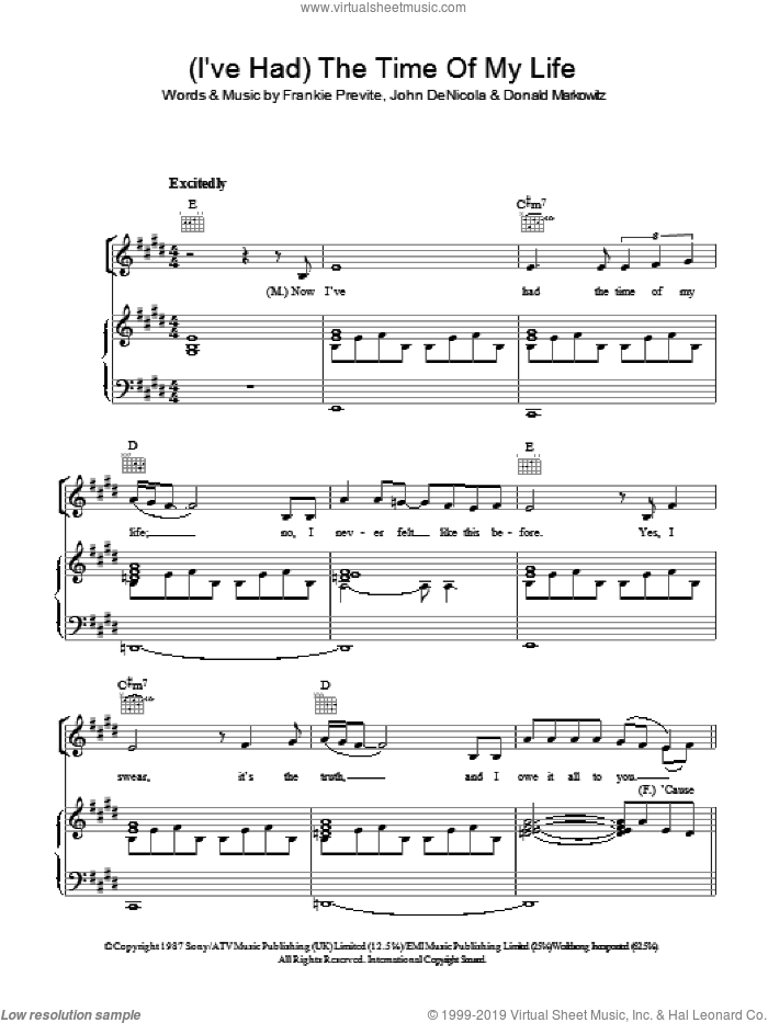 (I've Had) The Time Of My Life sheet music for voice, piano or guitar by Bill Medley and Jennifer Warnes. Score Image Preview.