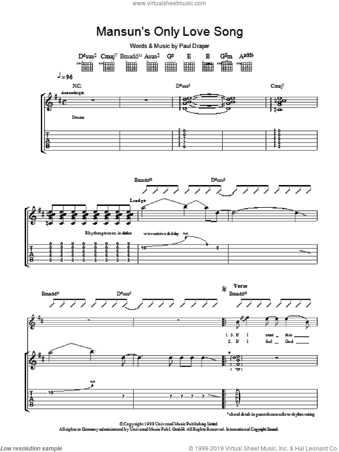 Mansun's Only Love Song sheet music for guitar (tablature) by Paul Draper