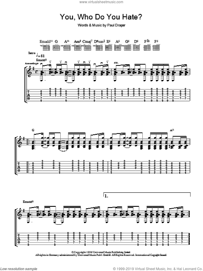 You, Who Do You Hate? sheet music for guitar (tablature) by Mansun. Score Image Preview.