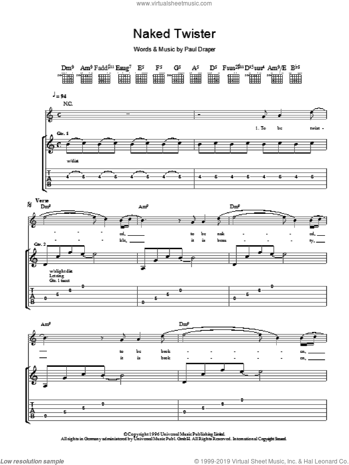 Naked Twister sheet music for guitar (tablature) by Mansun. Score Image Preview.