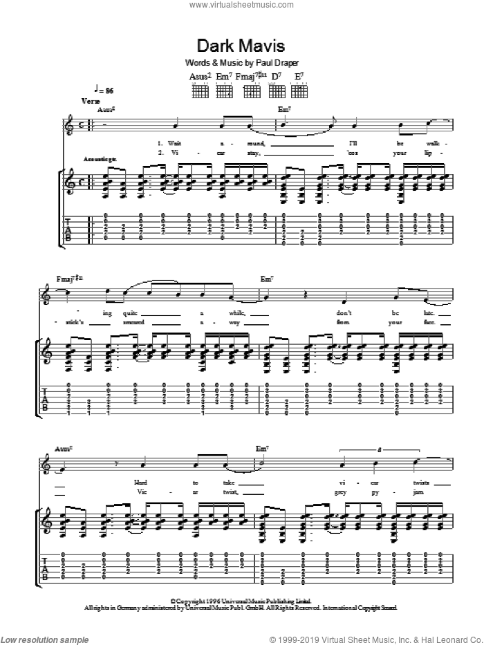 Dark Mavis sheet music for guitar (tablature) by Mansun. Score Image Preview.