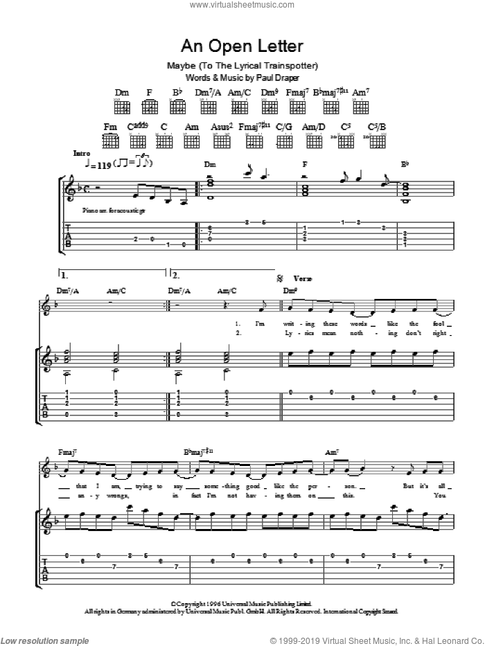 An Open Letter sheet music for guitar (tablature) by Mansun, intermediate guitar (tablature). Score Image Preview.