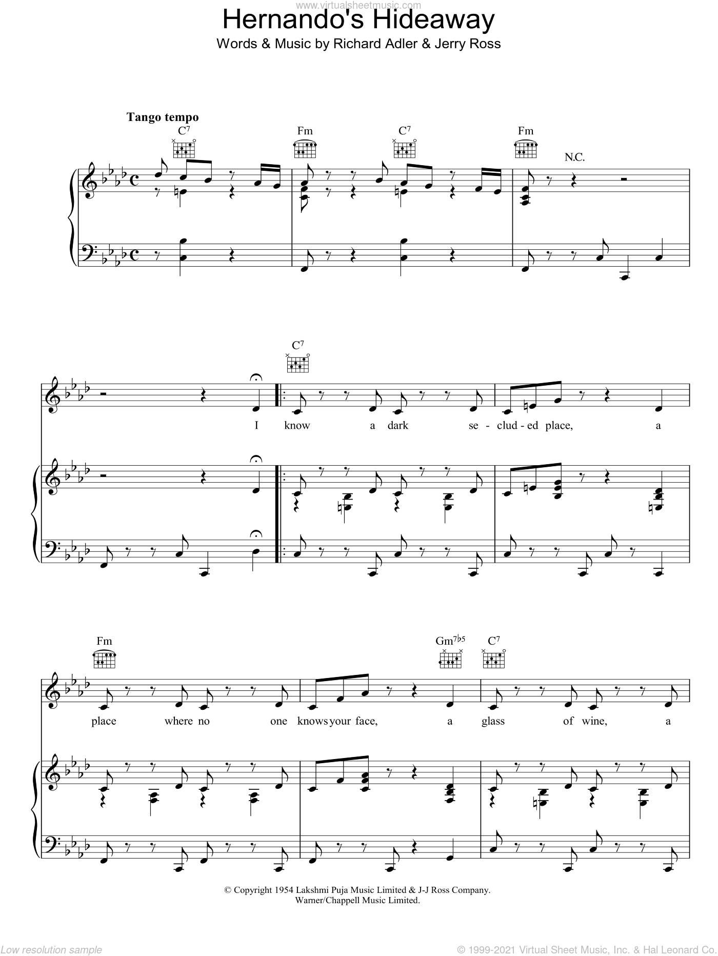 Hernando's Hideaway sheet music for voice, piano or guitar by Richard Adler and Jerry Ross, intermediate. Score Image Preview.