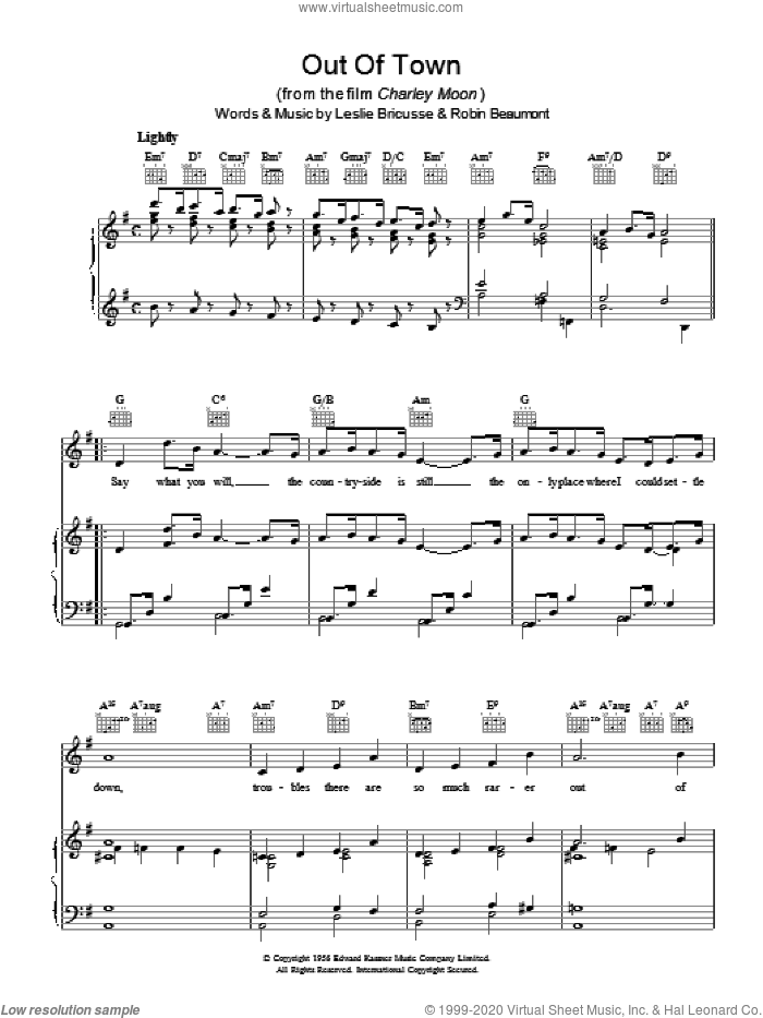 Out Of Town sheet music for voice, piano or guitar by Leslie Bricusse and Robin Beaumont. Score Image Preview.