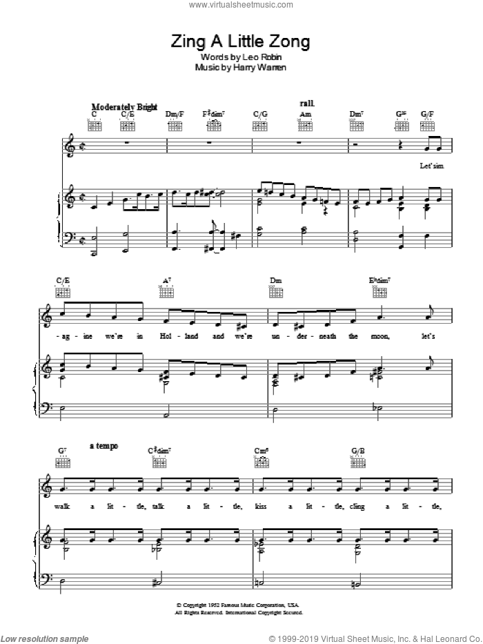 Zing A Little Zong sheet music for voice, piano or guitar by Harry Warren and Leo Robin, intermediate