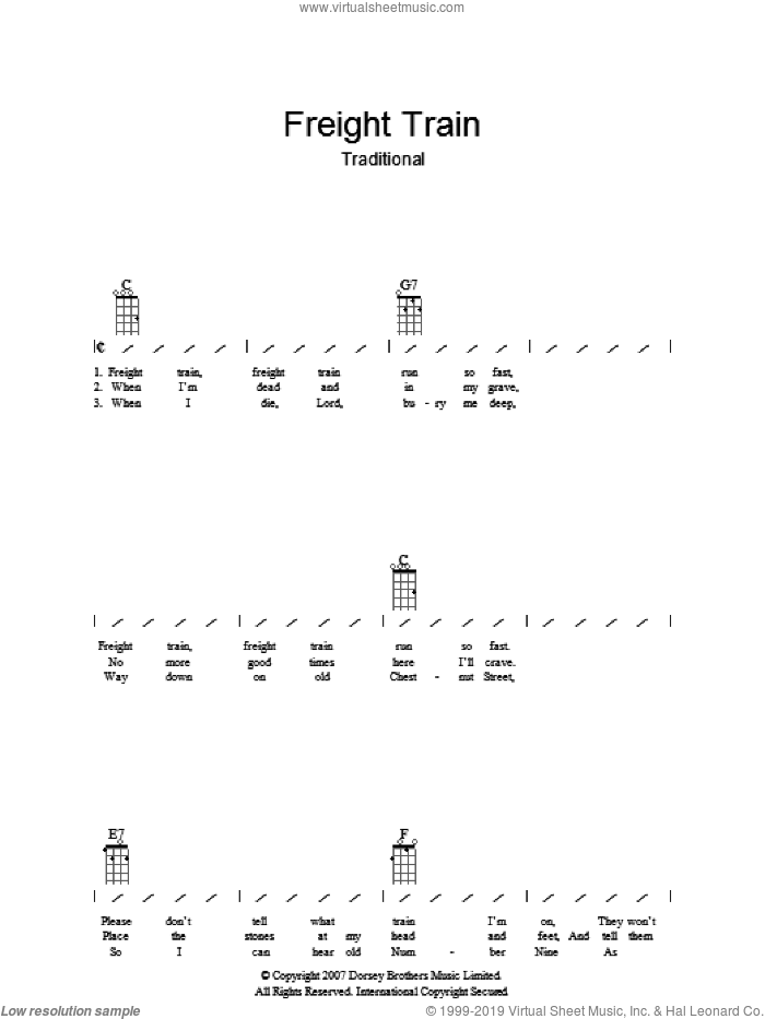 Freight Train sheet music for guitar (chords), intermediate. Score Image Preview.
