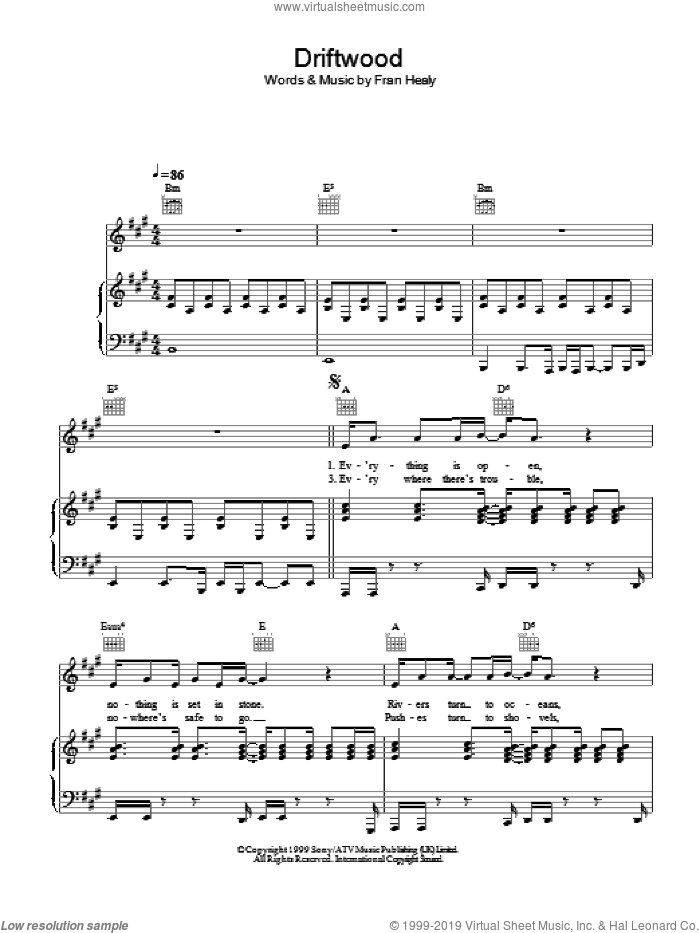Driftwood sheet music for voice, piano or guitar by Merle Travis, intermediate voice, piano or guitar. Score Image Preview.
