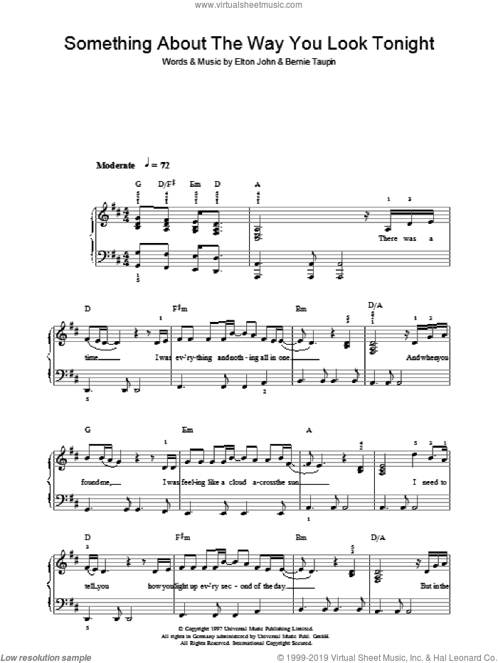 Something About The Way You Look Tonight sheet music for piano solo by Elton John and Bernie Taupin, easy skill level