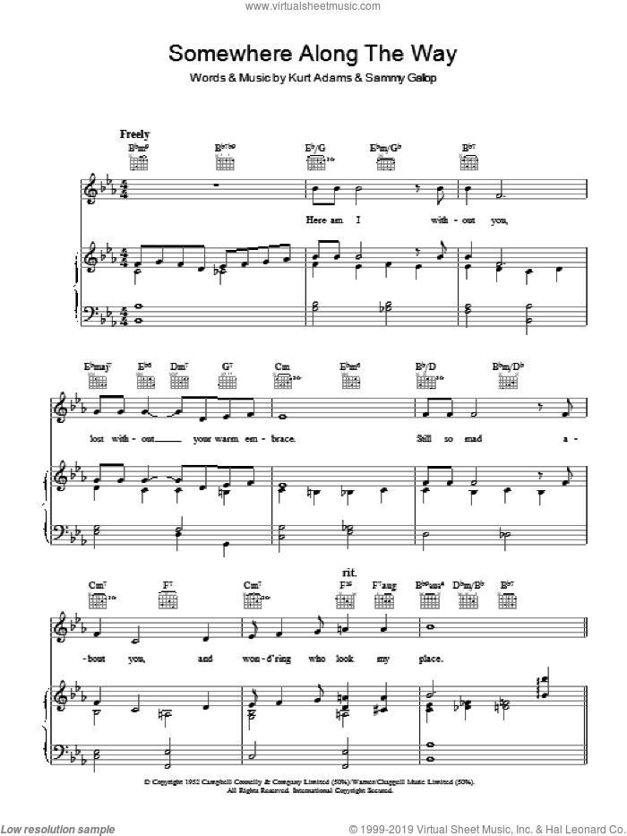 Somewhere Along The Way sheet music for voice, piano or guitar by Sammy Gallop