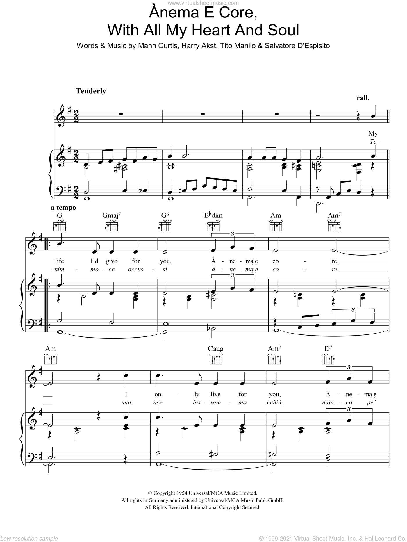 Anema E Core (With All My Heart And Soul) sheet music for voice, piano or guitar by Eddie Fisher, Harry Akst, Mann Curtis and Tito Manlio, intermediate skill level