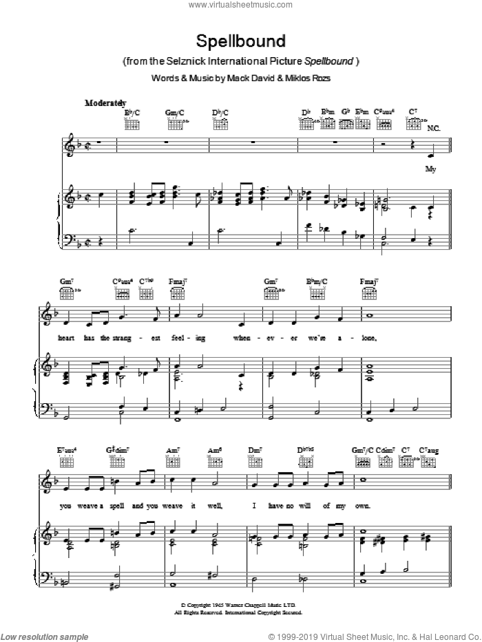 Spellbound sheet music for voice, piano or guitar by Mack David and Miklos Rozsa, intermediate skill level