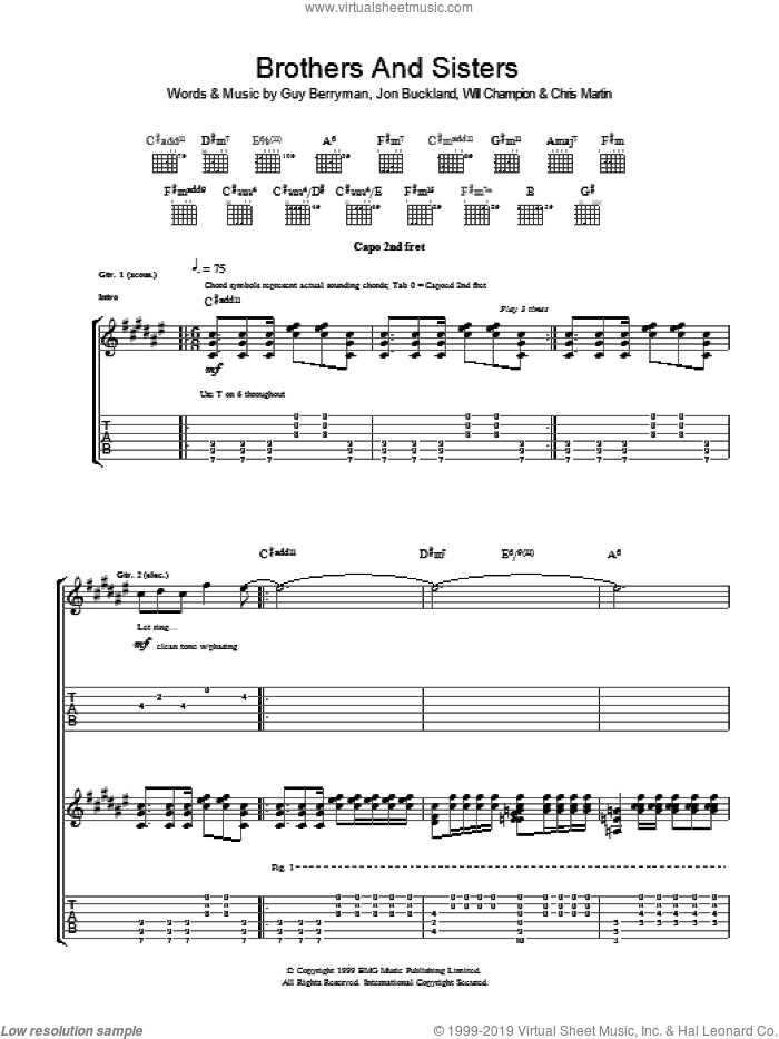 Brothers And Sisters sheet music for guitar (tablature) by Chris Martin, Coldplay, Guy Berryman, Jon Buckland and Will Champion. Score Image Preview.