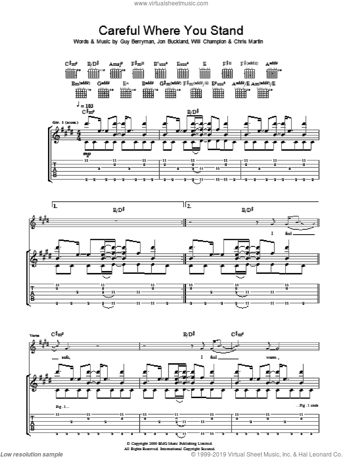 Careful Where You Stand sheet music for guitar (tablature) by Coldplay, intermediate. Score Image Preview.