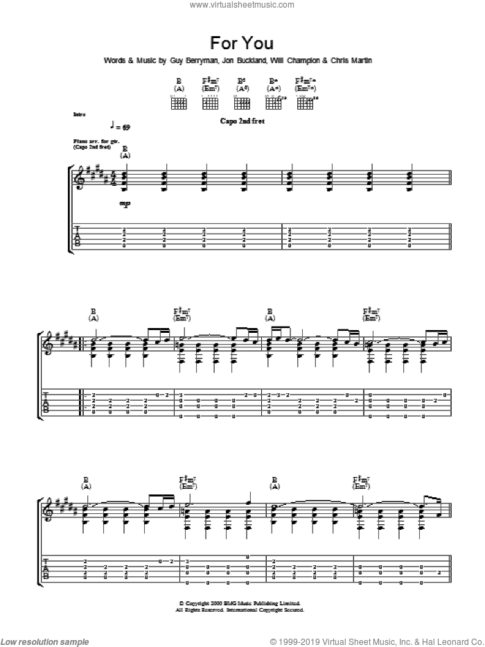 For You sheet music for guitar (tablature) by Coldplay. Score Image Preview.