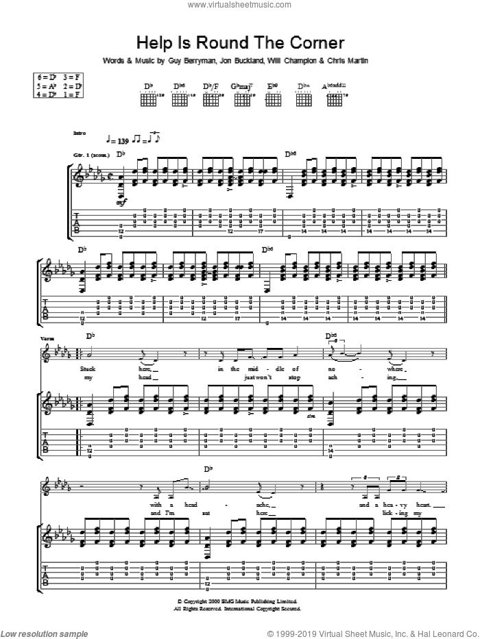 Help Is Round The Corner sheet music for guitar (tablature) by Coldplay, intermediate. Score Image Preview.
