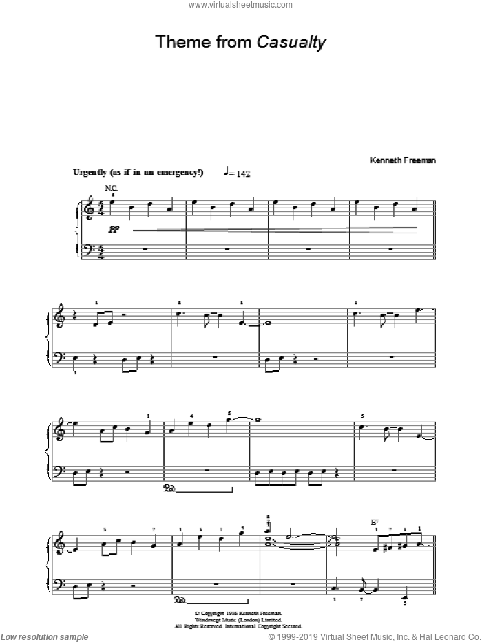 Theme from Casualty sheet music for piano solo (chords) by Kenneth Freeman