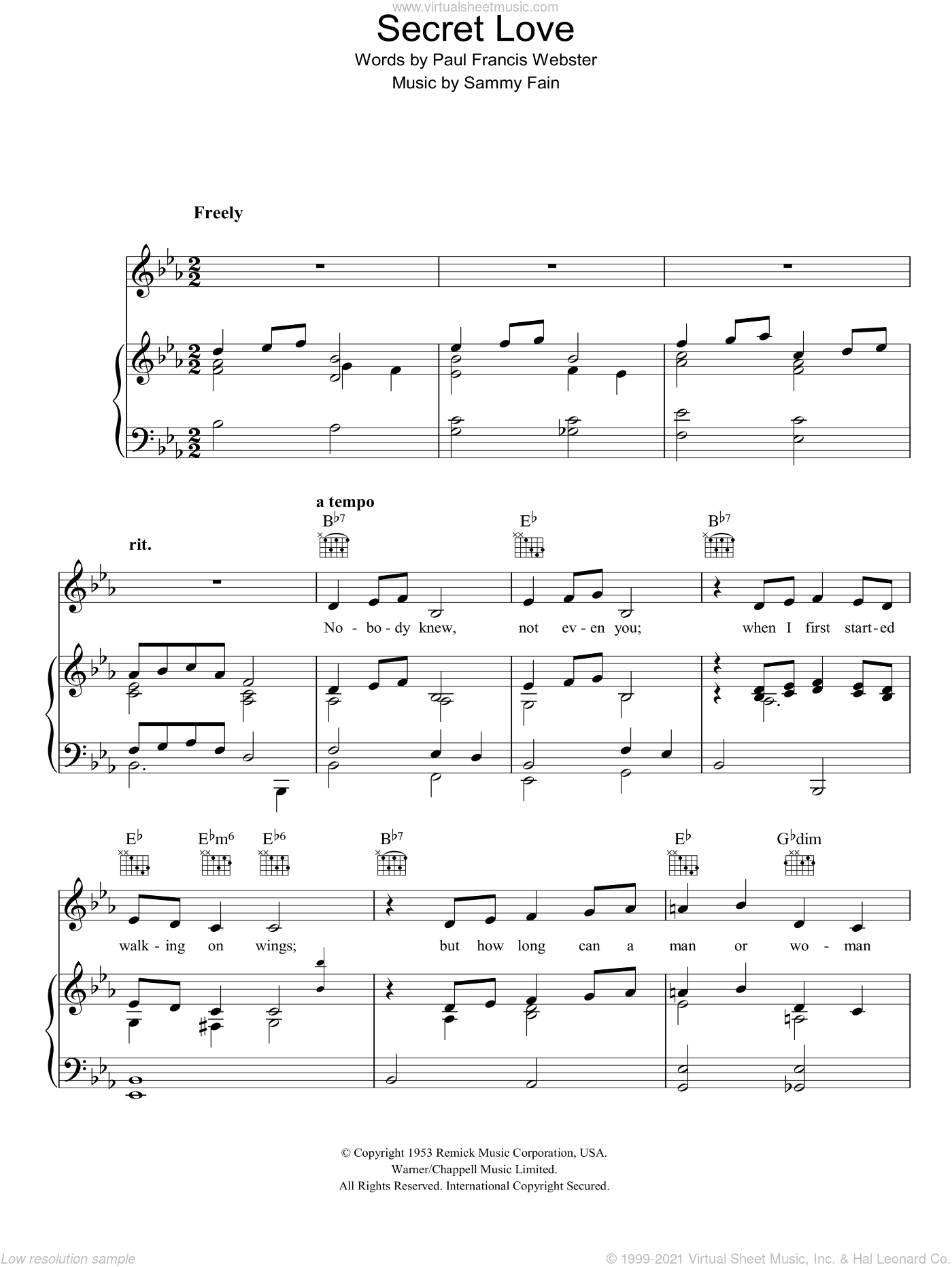Secret Love sheet music for voice, piano or guitar by Sammy Fain and Paul Francis Webster, intermediate. Score Image Preview.