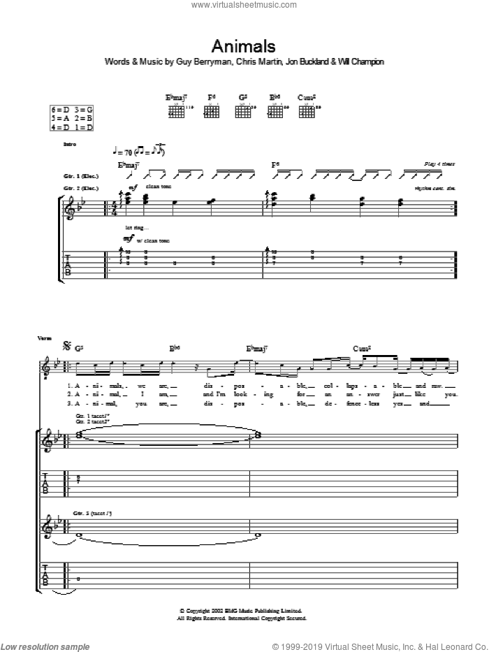 Animals sheet music for guitar (tablature) by Coldplay, intermediate guitar (tablature). Score Image Preview.