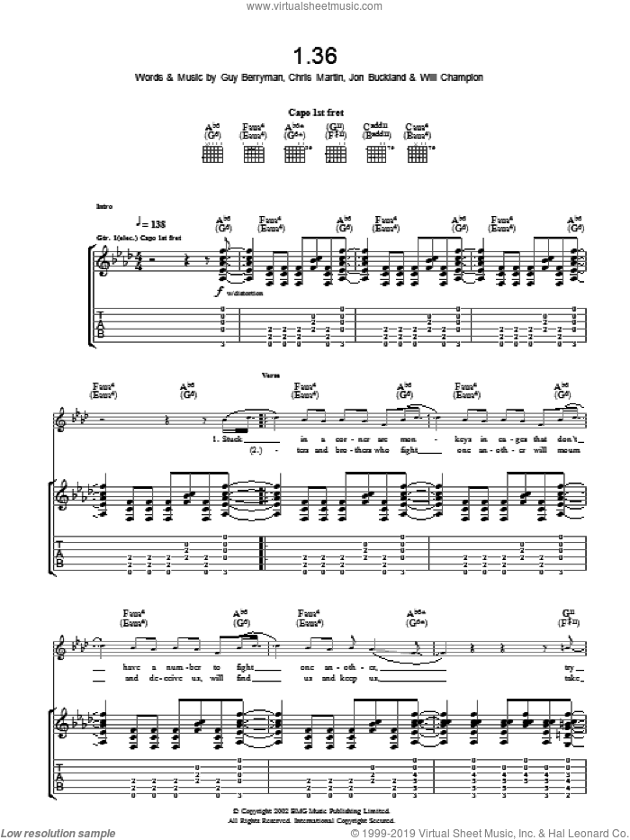 1.36 sheet music for guitar (tablature) by Chris Martin, Coldplay, Guy Berryman, Jon Buckland and Will Champion. Score Image Preview.