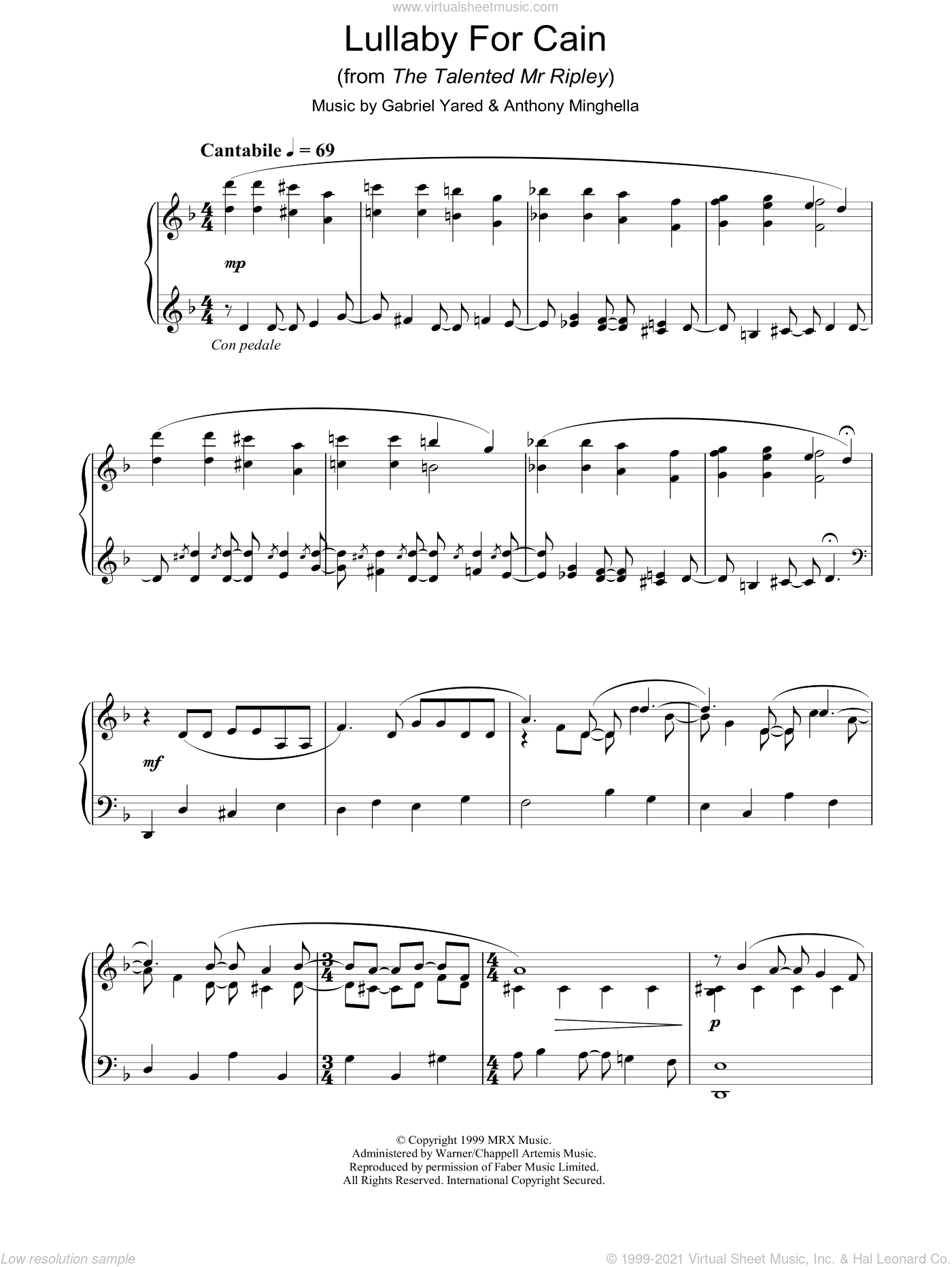 Lullaby For Cain sheet music for piano solo by Anthony Minghella and Gabriel Yared