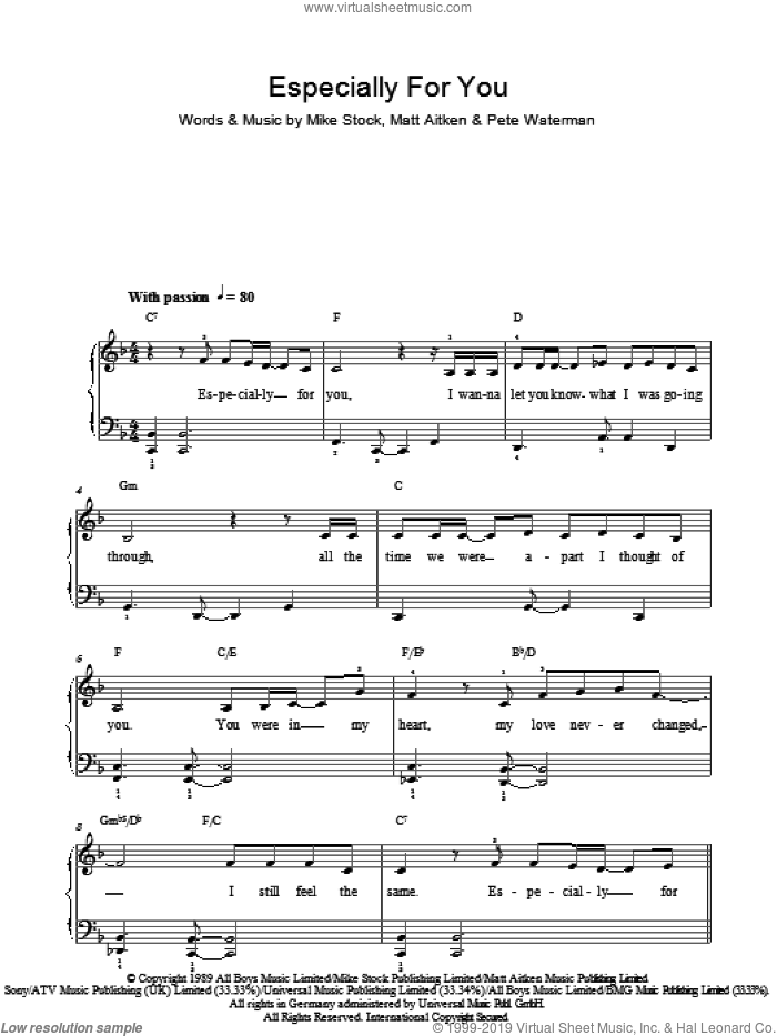 Especially For You sheet music for piano solo (chords) by Matt Aitken