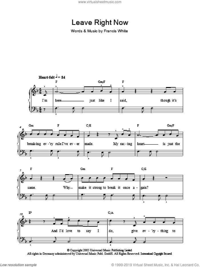 Leave Right Now sheet music for piano solo by Will Young, easy. Score Image Preview.