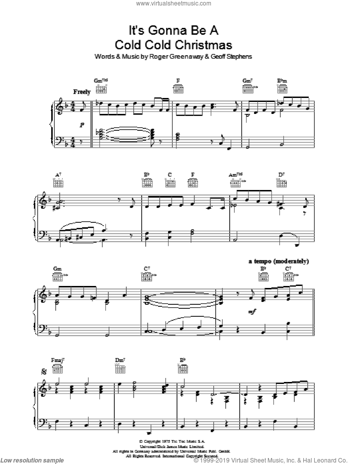 It's Gonna Be A Cold Cold Christmas sheet music for piano solo by Geoff Stephens