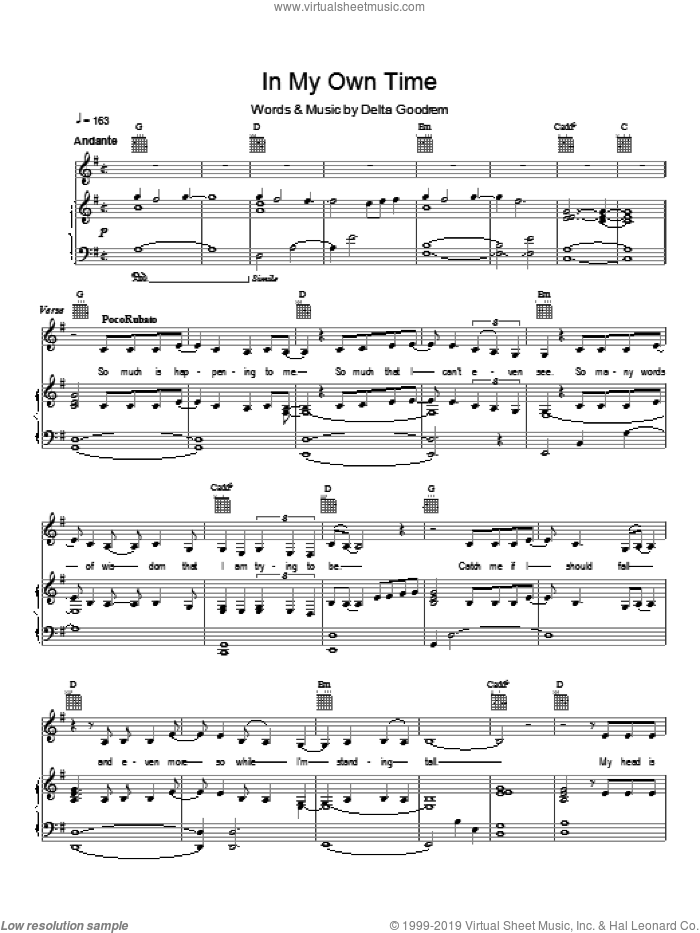 In My Own Time sheet music for voice, piano or guitar by Delta Goodrem. Score Image Preview.