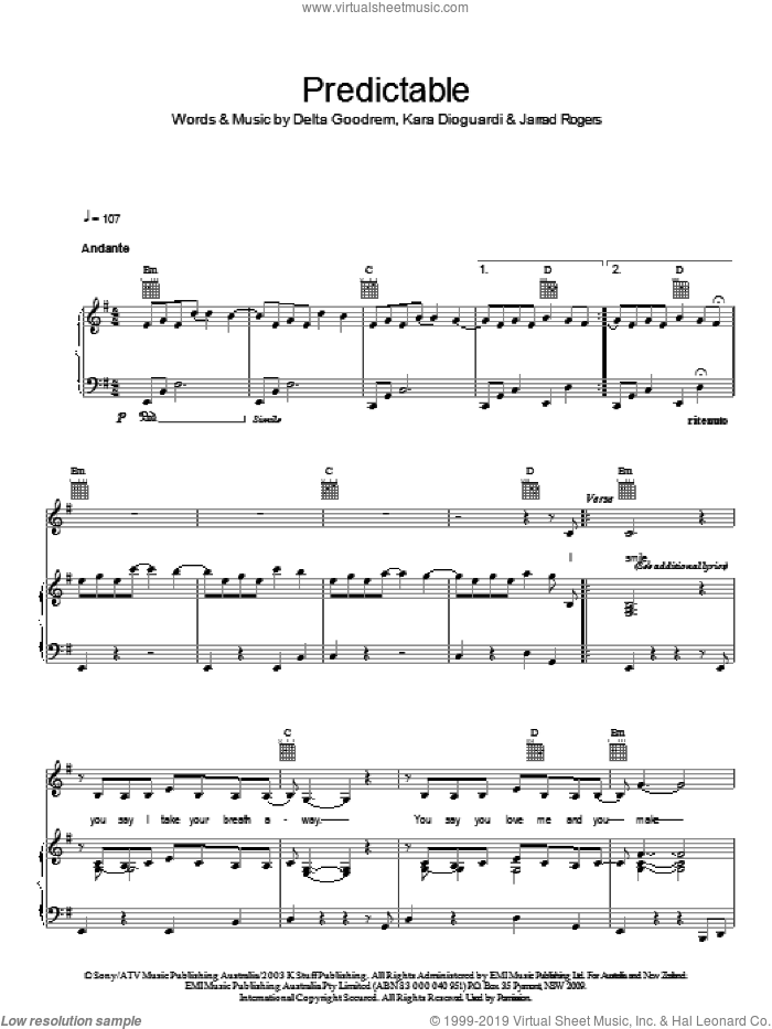 Predictable sheet music for voice, piano or guitar by Jarrad Rogers, Delta Goodrem and Kara DioGuardi. Score Image Preview.
