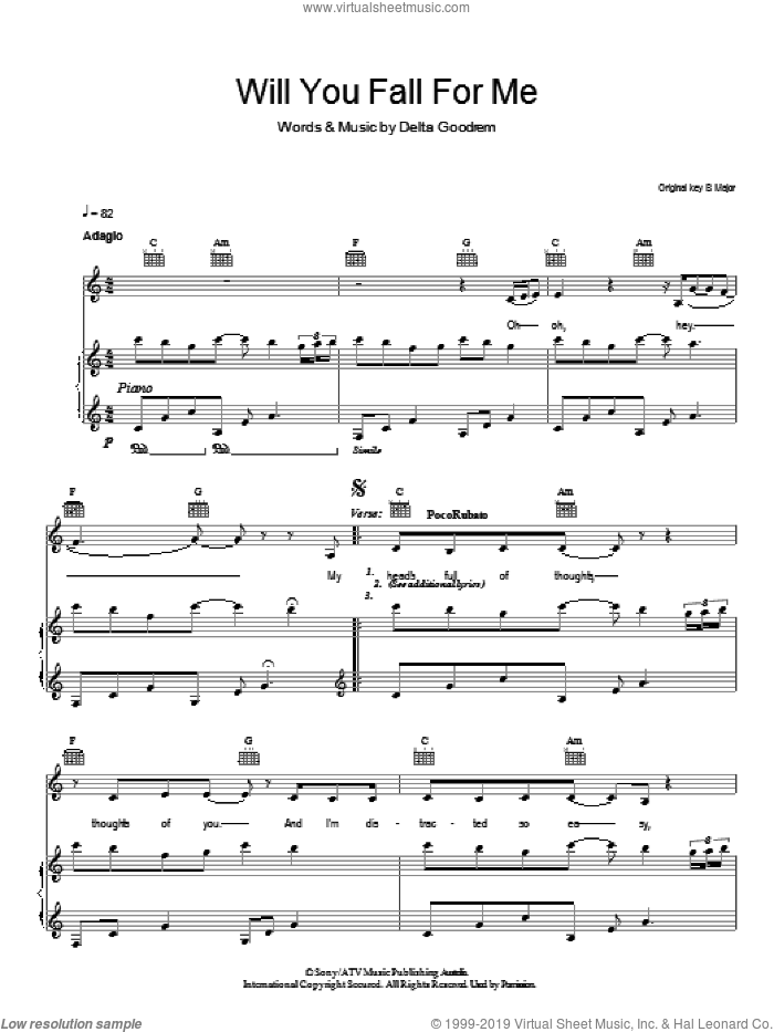 Will You Fall For Me sheet music for voice, piano or guitar by Delta Goodrem, intermediate. Score Image Preview.
