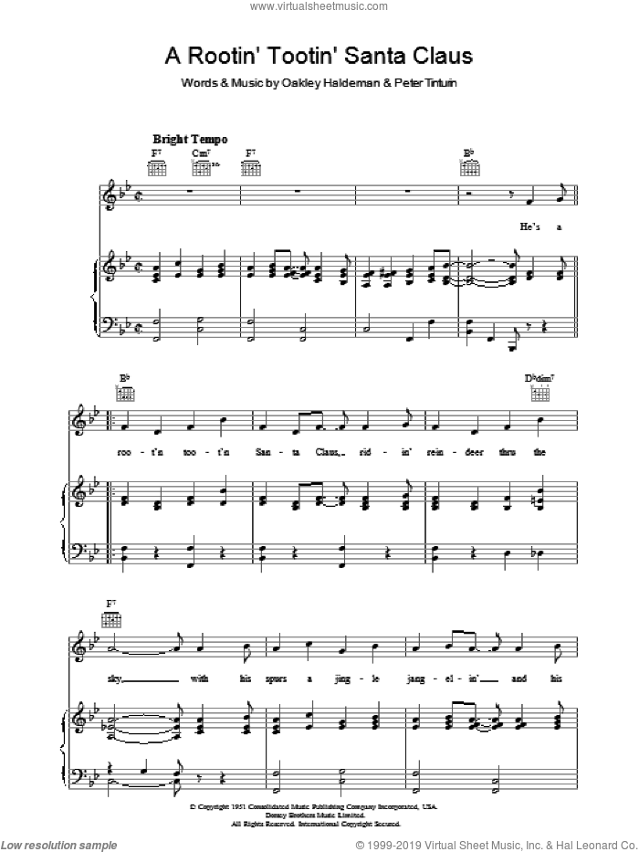 A Rootin' Tootin' Santa Claus sheet music for voice, piano or guitar by Tennessee Ernie Ford, Oakley Haldeman and Peter Tinturin, intermediate. Score Image Preview.