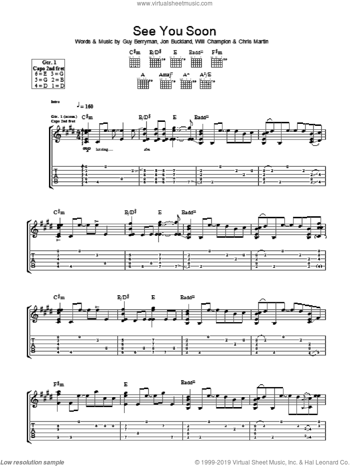 See You Soon sheet music for guitar (tablature) by Coldplay. Score Image Preview.