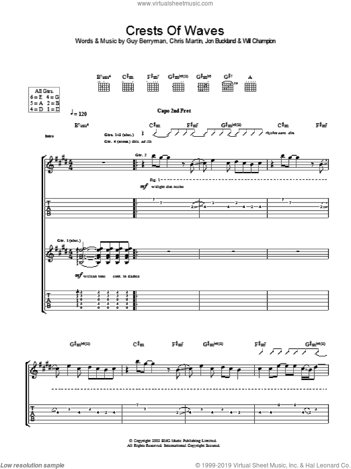 Crests Of Waves sheet music for guitar (tablature) by Coldplay, intermediate guitar (tablature). Score Image Preview.