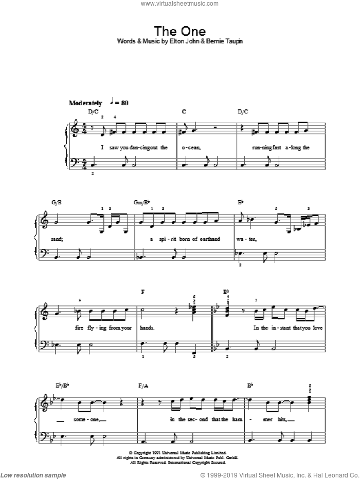 The One sheet music for piano solo by Elton John and Bernie Taupin, easy skill level