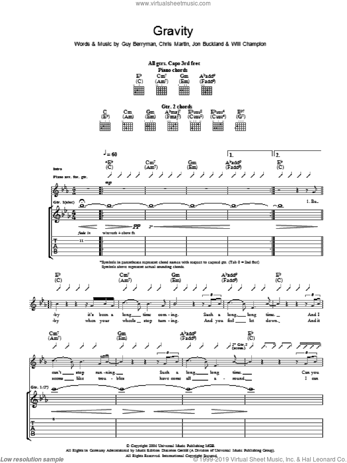 Gravity sheet music for guitar (tablature) by Coldplay, Chris Martin, Guy Berryman, Jon Buckland and Will Champion, intermediate skill level