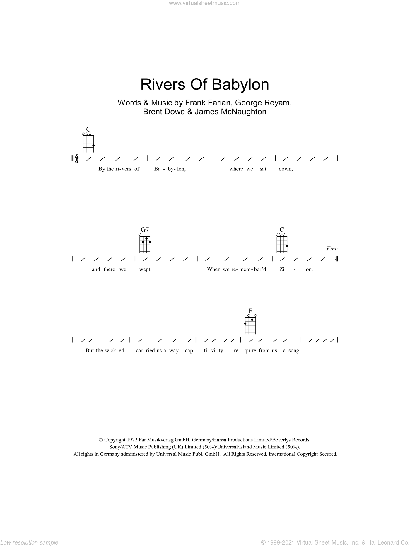 Rivers Of Babylon sheet music for ukulele (chords) by Boney M., The Melodians, Brent Dowe, Frank Farian, George Reyam and James McNaughton, intermediate skill level