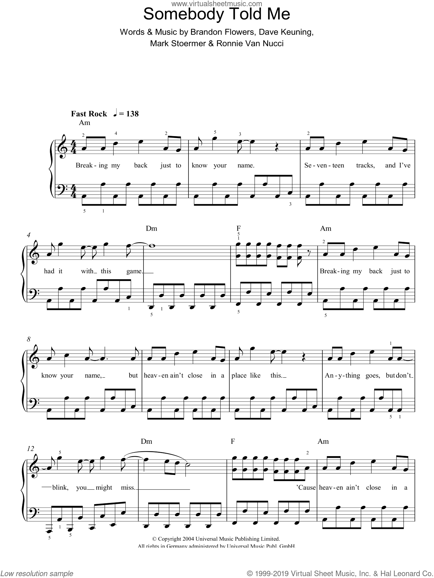 Somebody Told Me sheet music for piano solo by Brandon Flowers, The Killers, Dave Keuning and Mark Stoermer. Score Image Preview.