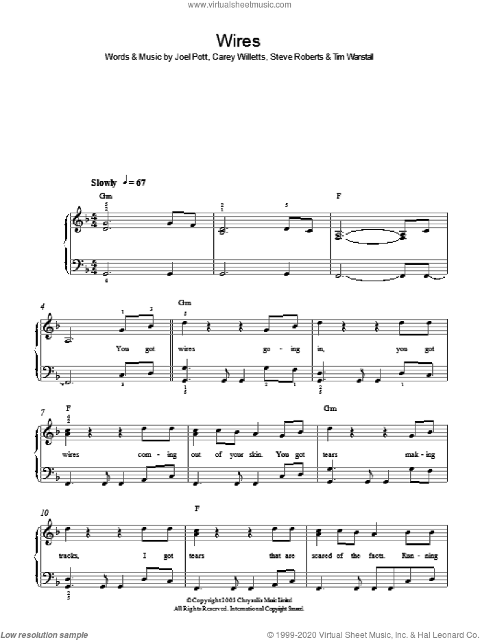 Wires sheet music for piano solo by Athlete. Score Image Preview.
