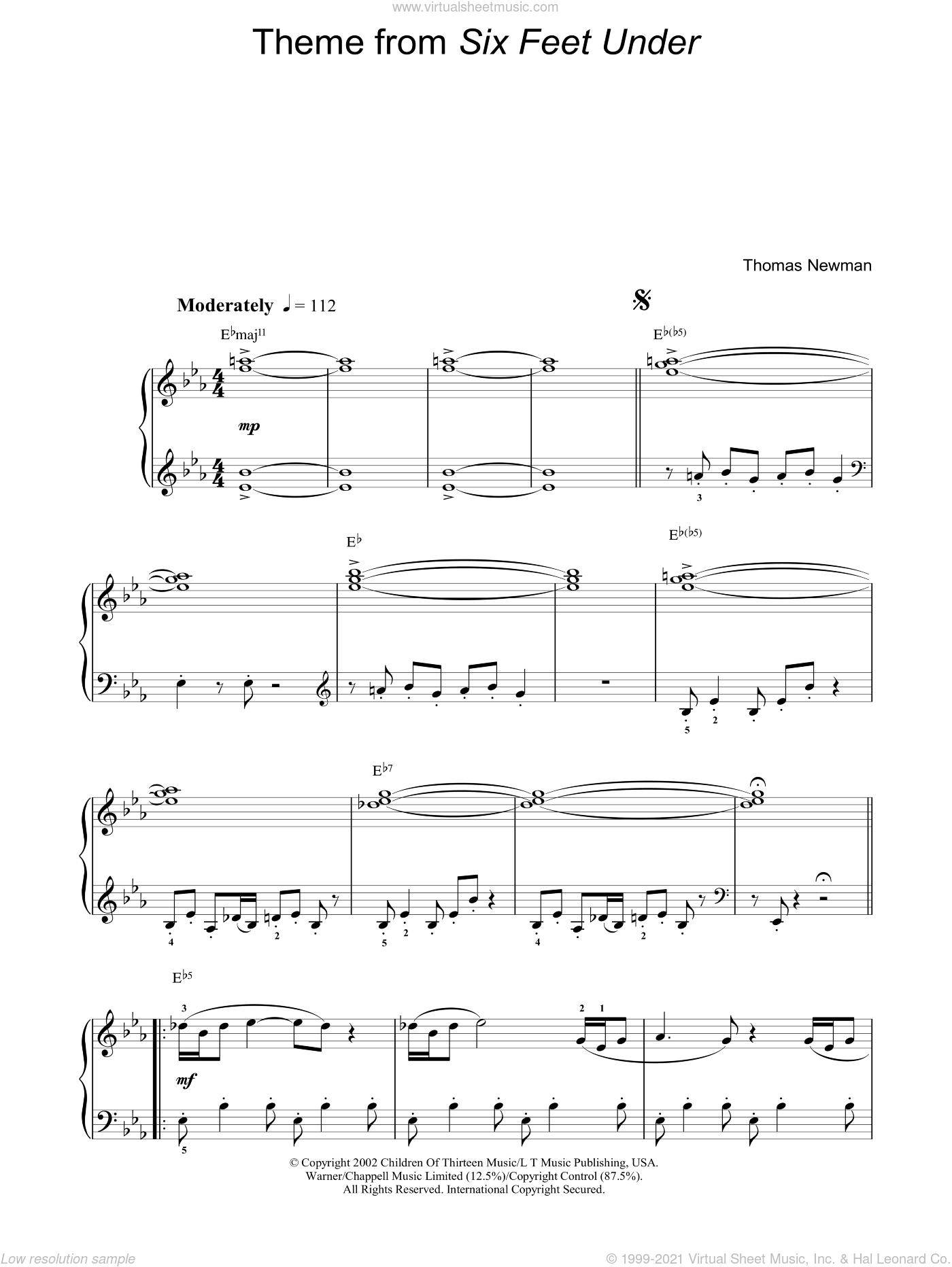 Theme from Six Feet Under sheet music for piano solo by Thomas Newman, easy skill level