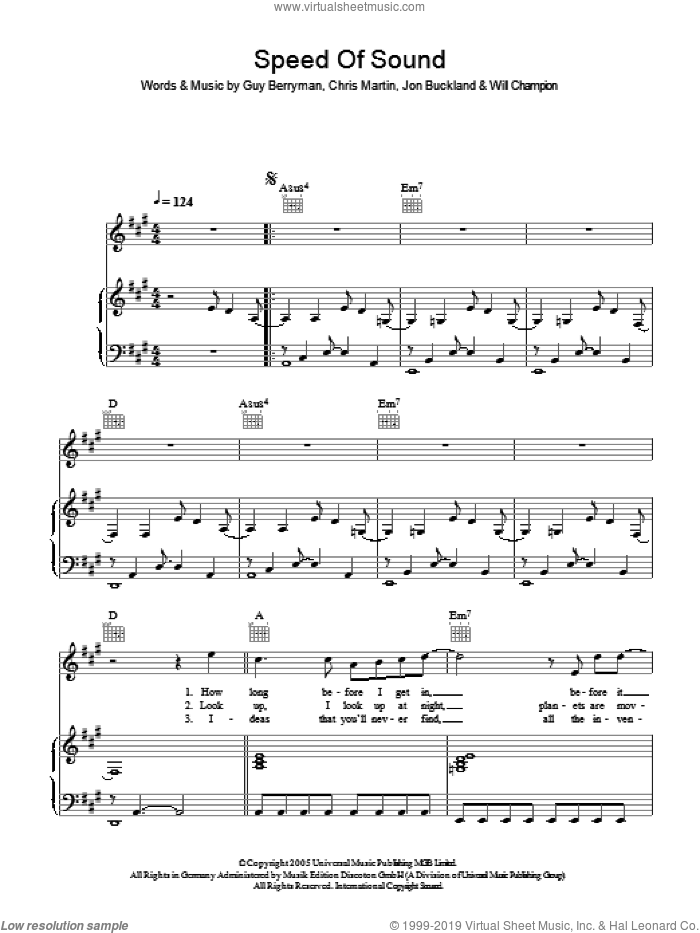 Speed Of Sound sheet music for voice, piano or guitar by Chris Martin, Coldplay, Guy Berryman, Jon Buckland and Will Champion. Score Image Preview.